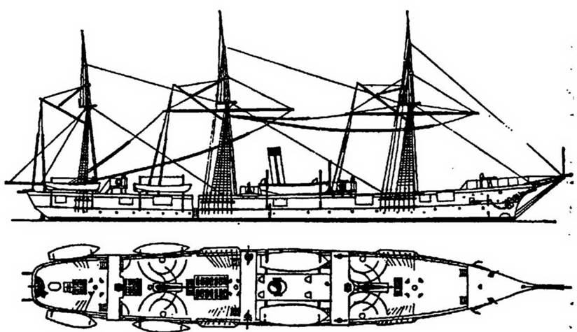 "Хронология.  26.11.1877. Установка.  Парусно-винтовой крейсер 2 ранга  ""Разбойник "".  2. Заложен."