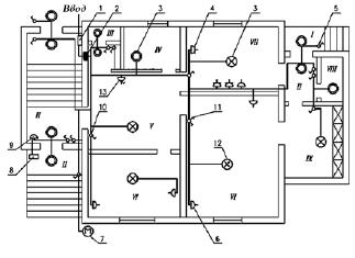 В качестве примера рассмотрим план электропроводки одноквартирного жилого дома, на котором изображены электропроводка...