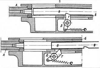 """Схема работы автоматики пулемета М1914  """"Фиат- Ревелли """".  Вверху - подвижная система в крайнем переднем положении..."""