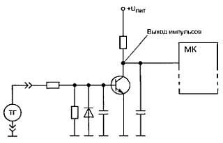Импульсы синусоидального напряжения поступают на вход схемы формирователя: сначала на делитель напряжения...
