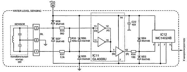 Схема индуктивного датчика с