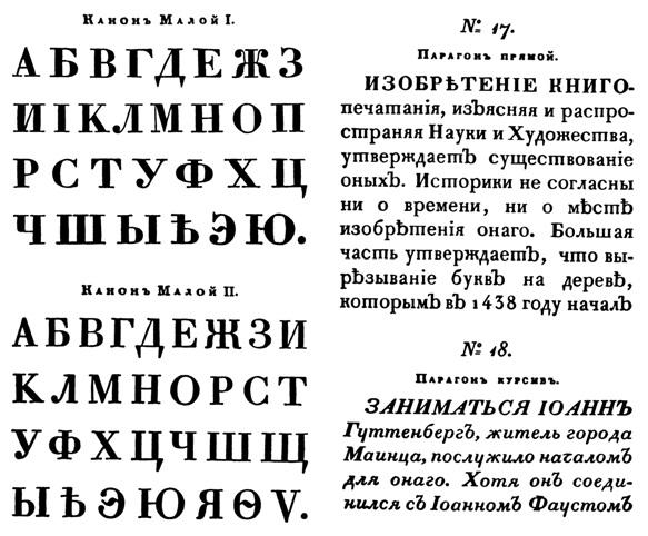В графика русских шрифтов развивалась