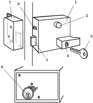 Устройство накладного замка: 1