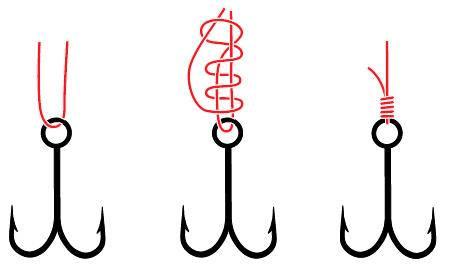Узлы для привязывания крючков,