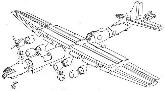 Схема технологического членения Ту-4.