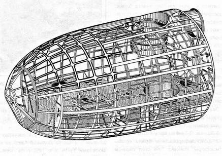 Конструктивно-силовая схема носовой части фюзеляжа.  Фюзеляж самолета представлял собою обтекаемое сигарообразное...
