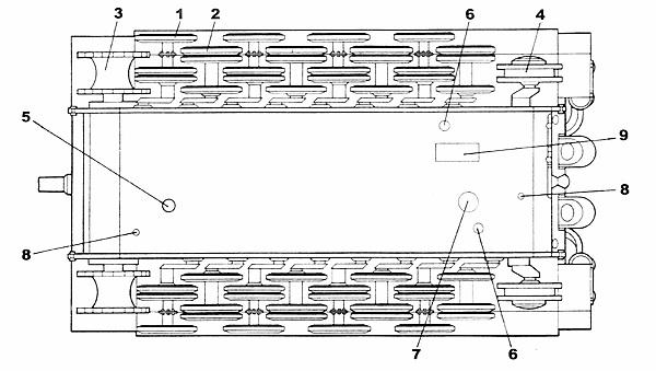 Схема ходовой части и днища
