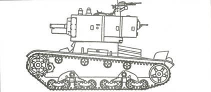Танк Т-26, чертеж танка с зенитным пулемётом.