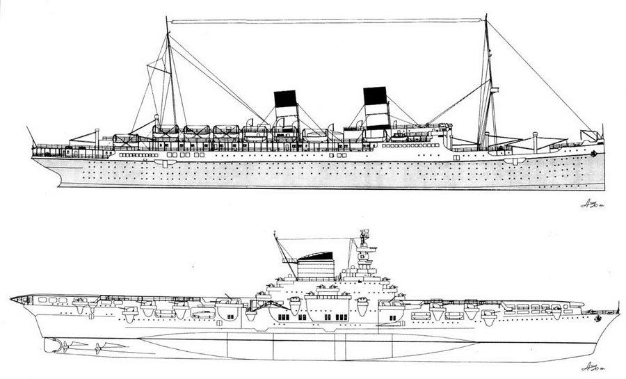 """Сравнивая внешний вид пассажирского лайнера  """"Рома """" (вверху) и переоборудованного из него авианосца  """"Аквила """"..."""