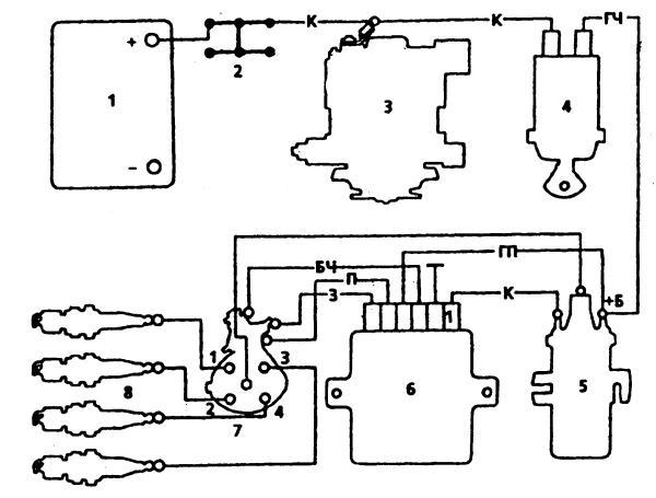 Схема проверки коммутатора: 1 - аккумуляторная батарея: 2 - колодка; 3 - генератор; 4 - выключатель зажигания; 5...