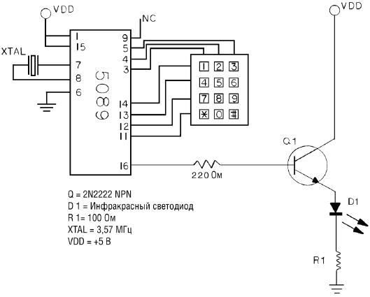 Как только вы убедились в работоспособности устройства, можно добавить в схему приемник и передатчик ИК излучения.