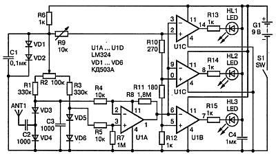 Схема искателя подслушивающих устройств (30—500 МГц) выполненого на микросхемах LM324.