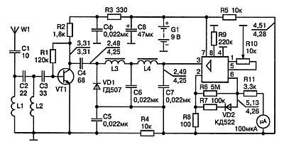 Схема индикатора напряженности поля выполненного на ОУ 140УД6.