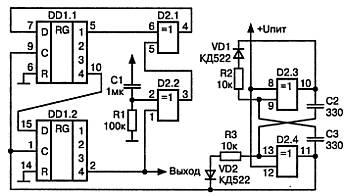 """Запись информации в регистр происходит по входам  """"D """". На вход  """"D """" регистра DD1.1 сигнал поступает с элемента обратной..."""