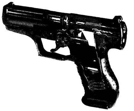 """Схема устройства пистолета Р99.  Автоматика пистолета и система запирания канала ствола выполнены по схеме  """"Браунинг..."""