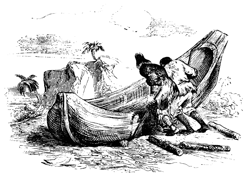 Робинзон и Пятница строят лодку - Робинзон Крузо.