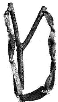 Рисунок 2-5.  Тяжи для этой рогатки изготовлены из офисной резины.  Различная эластичность - есть несколько факторов...