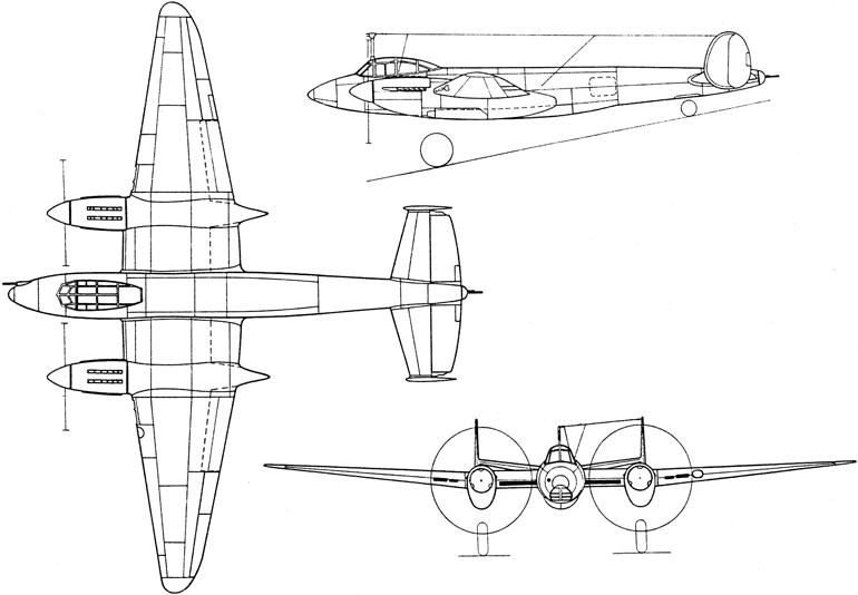 Схема самолета Пе-2И