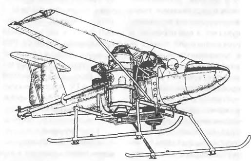 Силовая установка.  По бокам фюзеляжа под крылом на оси, проходящей через центр тяжести, шарнирно установлены два ТРД...