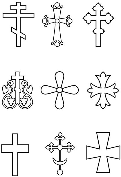 По контуру креста с помощью