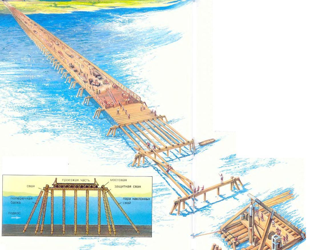 На рисунке приведена схема строительства упрощенного свайного моста.