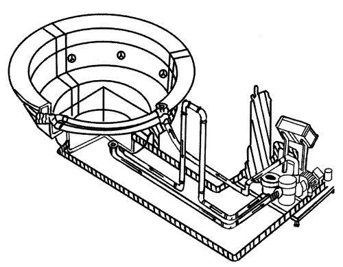 В середине большего бассейна можно сделать джакузи, подключив насос и подогрев к ванне (рис. 27).