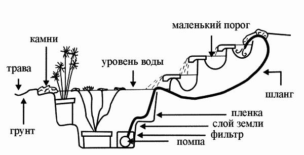 Устройство декоративного бассейна с каскадом и водными растениями.