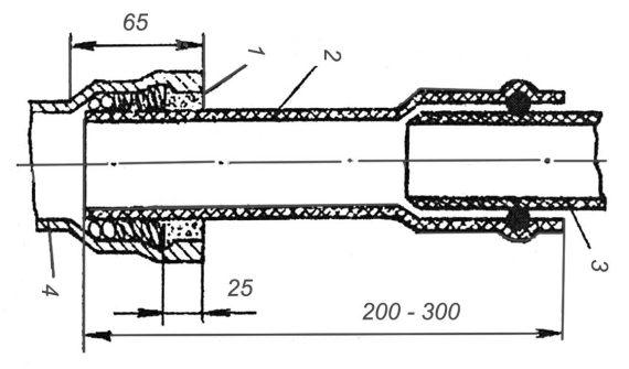 2 - полиэтиленовый переходный патрубок.  Присоединение труб из ПВХ к чугунным канализационным трубам.