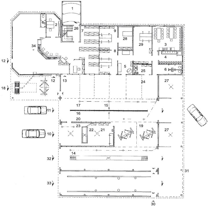 1 – вход на верхний этаж;