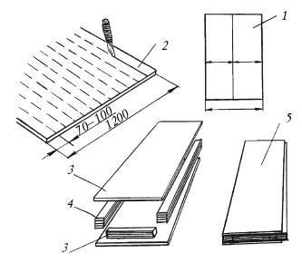 Последовательность изготовления полупанели (размеры даны в мм): 1 - раскрой гипсокартонного листа для получения...