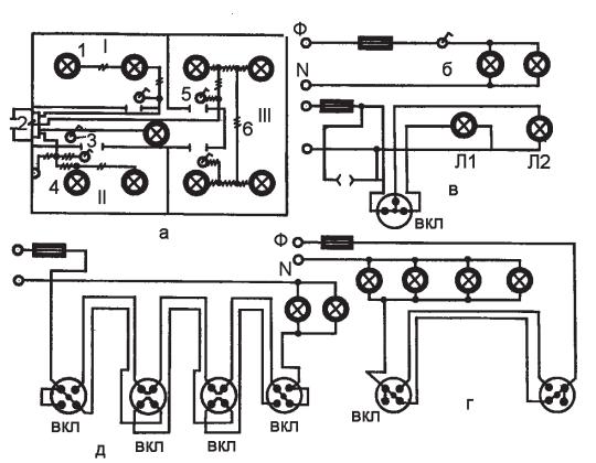На рис.1 а приведена схема электрической проводки в трехкомнатном помещении.  Рис.1. Схемы электрических проводок: а...