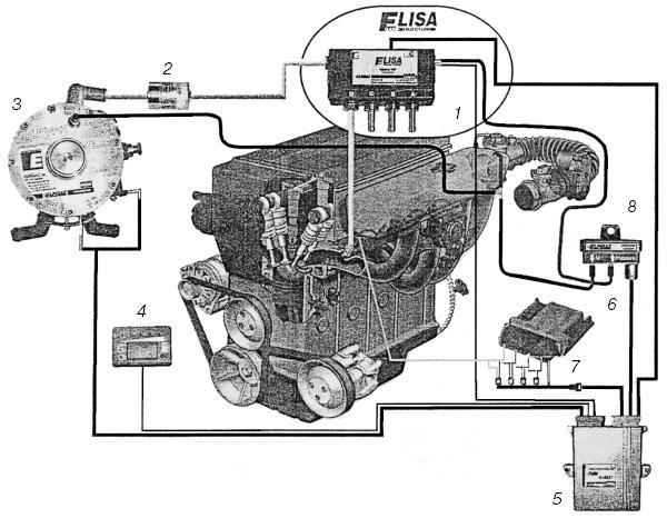 """Схема соединений системы  """"Elisa """": 1 - блок форсунок четырехсекционный; 2 - газовый фильтр; 3 - редуктор-испаритель; 4..."""