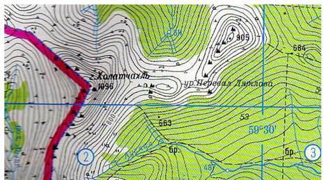 и перевал Дятлова на карте