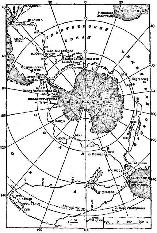 Карта Антарктиды с маршрутом