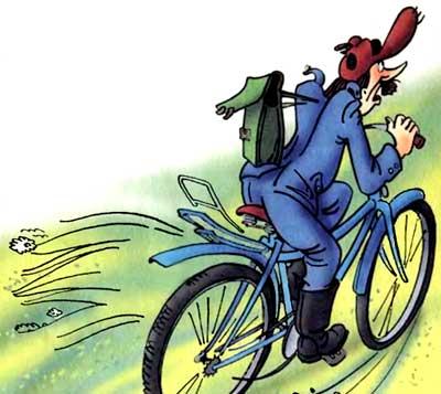 Дядя Федор идет в школу (повесть).  Почтальон Печкин на велосипеде.