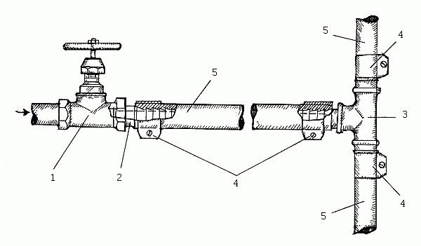 Соединение резинового водопровода: 1 - вентиль; 2 - переходник; 3.