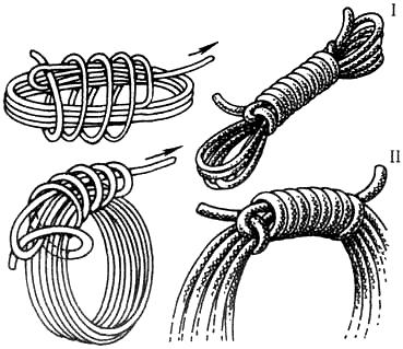Простой удобный узел, позволяет держать веревку в компактном состоянии...